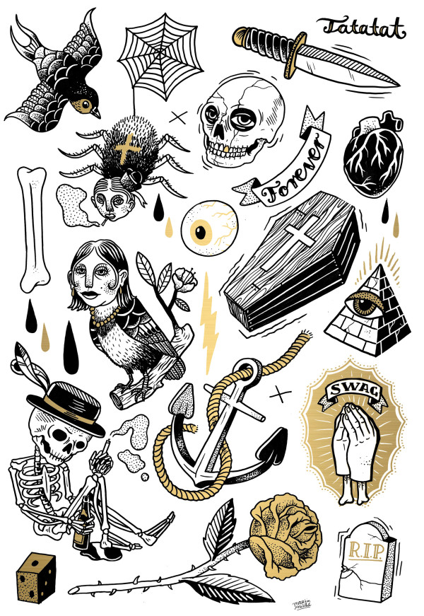 classic tattoo illustrations by martin krusche