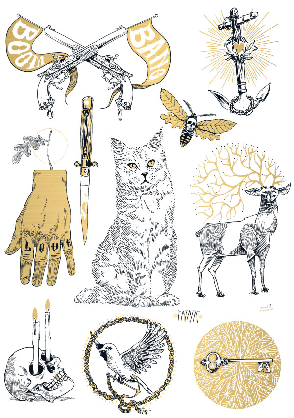 Illustrations by Roland Brückner for temporary tattoo Label TATATAT