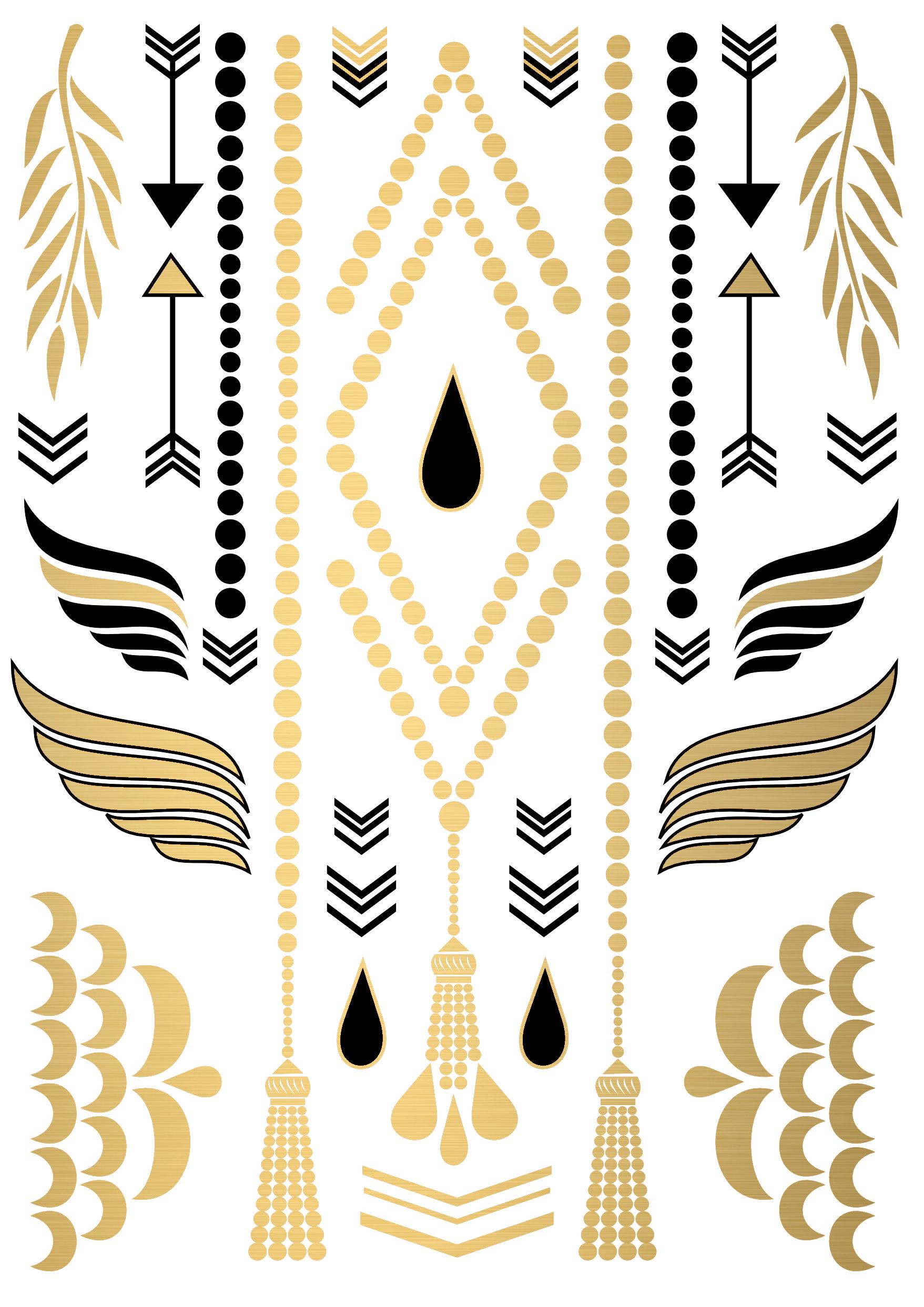 golden temporary tattoo jewelry