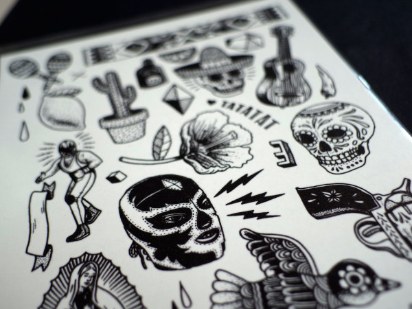 dia de los muertos mexican temporary tattoo illustrations