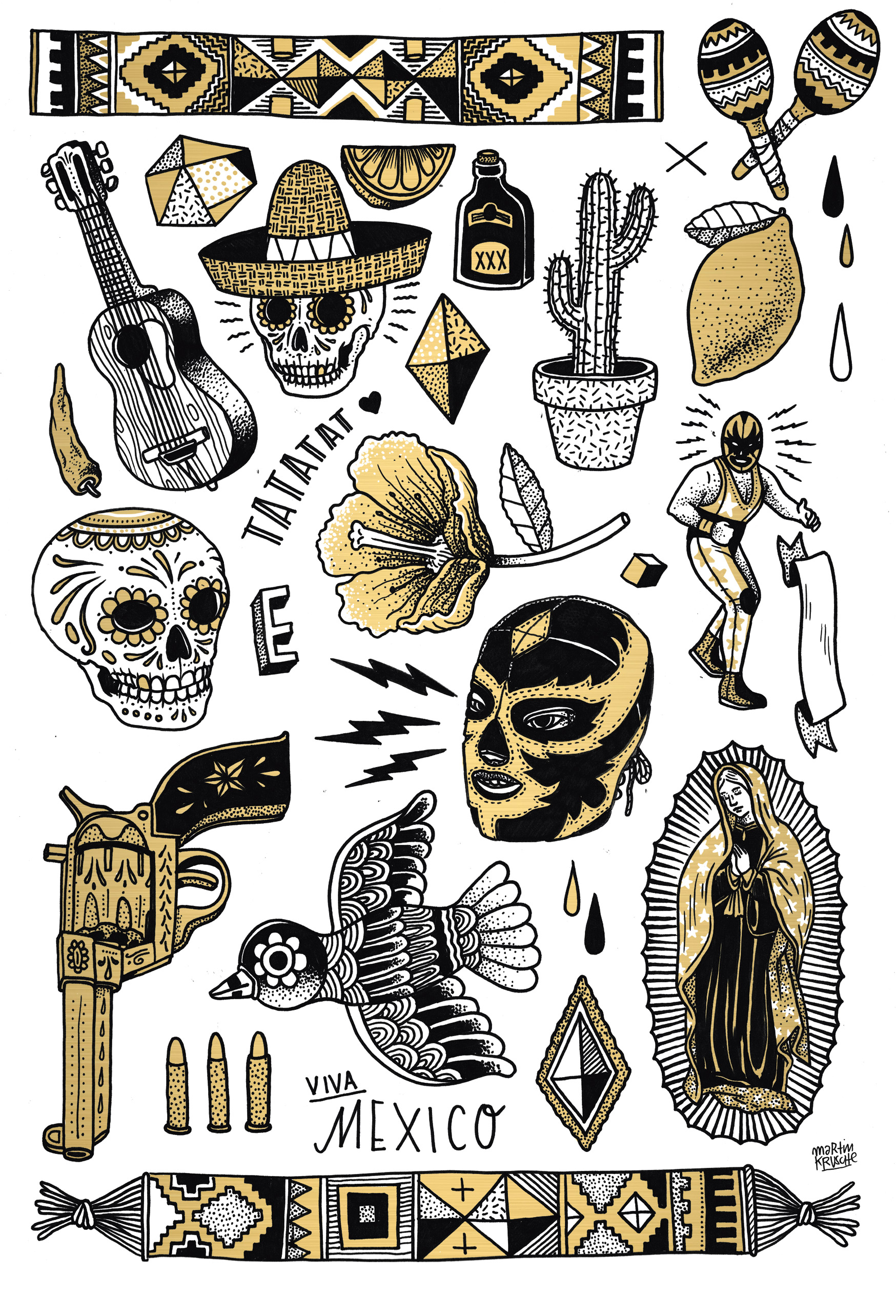 dia de los muertos mexican temorary tattoo illustrations