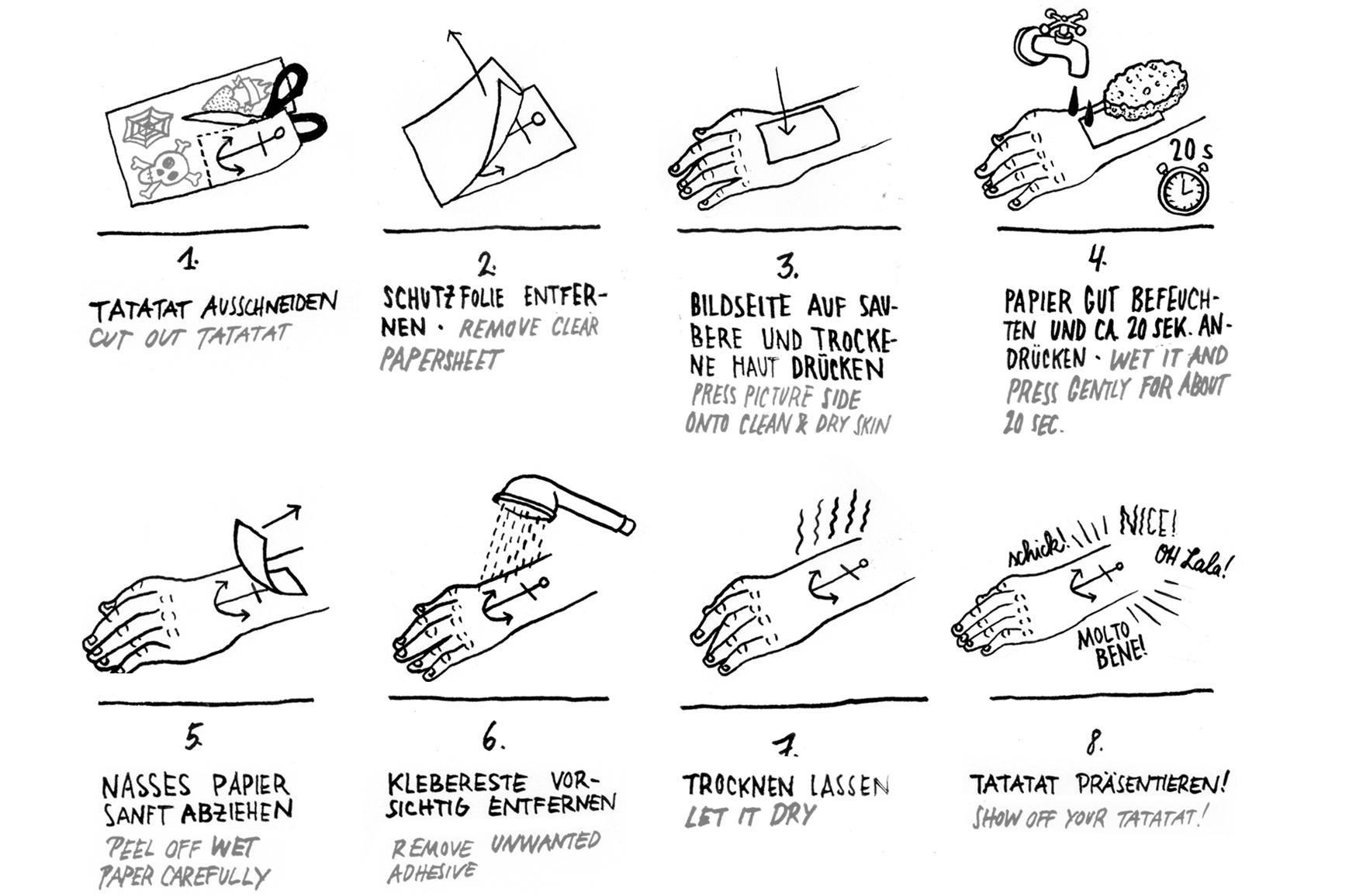 temporary tattoo instructions anleitung