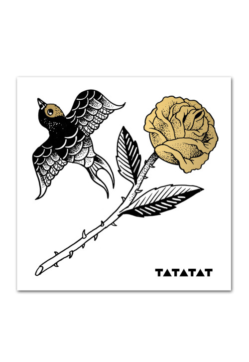 Rose-bird-temporary-gold-tattoo