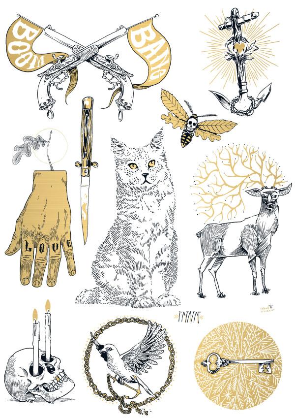 Illustrations by Roland Brückner for temporary tattoo Label TATATAT