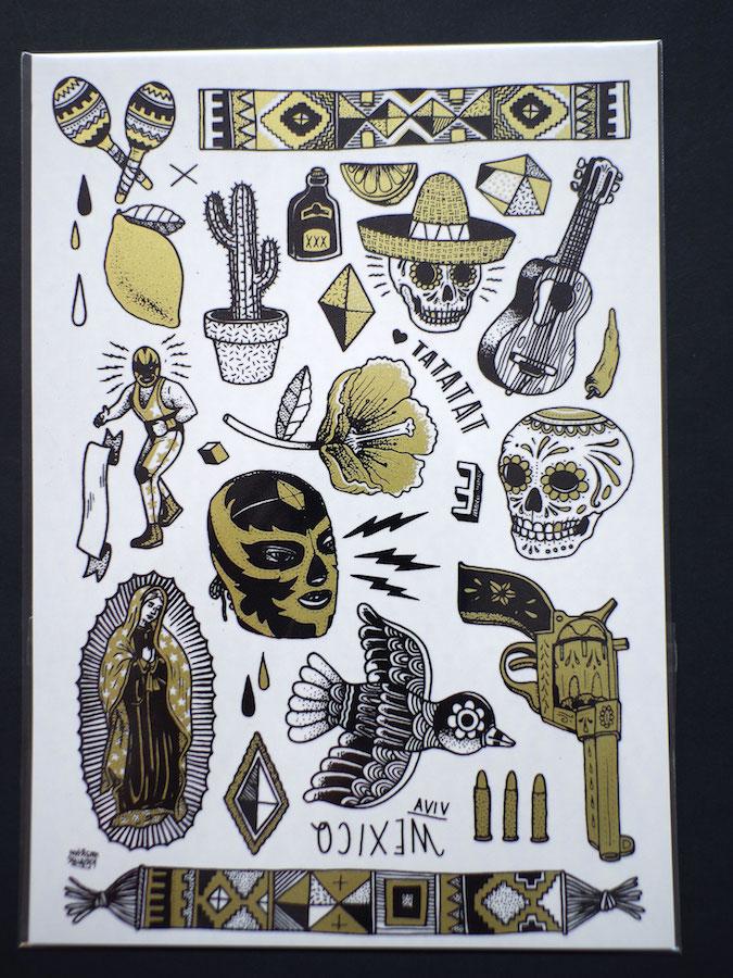 dia de los muertos mexican temorary tattoo illustrations